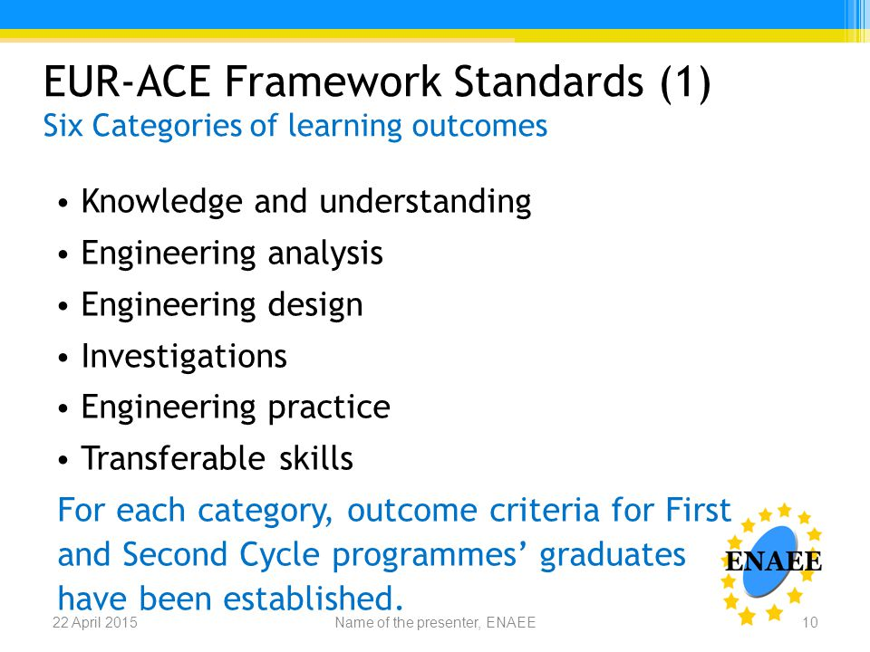 EUR-ACE Framework Standards (1) Six Categories of learning outcomes Knowledge and understanding Engineering analysis Engineering design Investigations Engineering practice Transferable skills For each category, outcome criteria for First and Second Cycle programmes' graduates have been established.