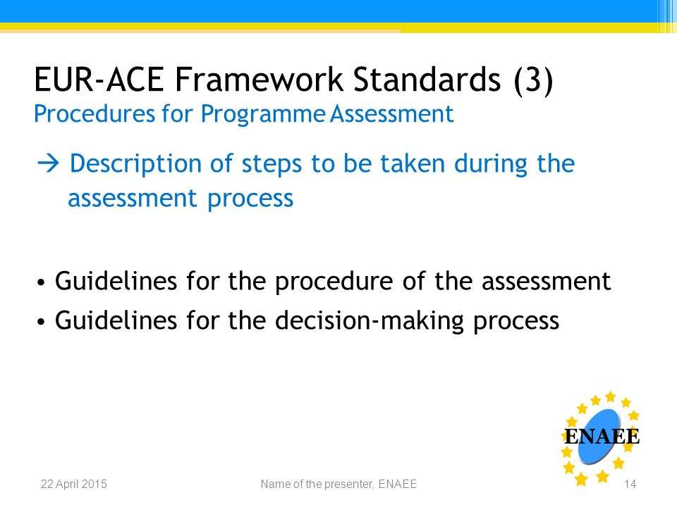 EUR-ACE Framework Standards (3) Procedures for Programme Assessment  Description of steps to be taken during the assessment process Guidelines for the procedure of the assessment Guidelines for the decision-making process Name of the presenter, ENAEE22 April 201514