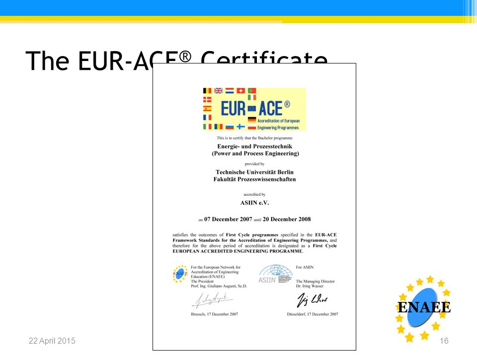 The EUR-ACE ® Certificate Name of the presenter, ENAEE22 April 201516