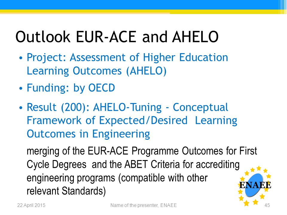 Outlook EUR-ACE and AHELO Project: Assessment of Higher Education Learning Outcomes (AHELO) Funding: by OECD Result (200): AHELO-Tuning - Conceptual Framework of Expected/Desired Learning Outcomes in Engineering merging of the EUR-ACE Programme Outcomes for First Cycle Degrees and the ABET Criteria for accrediting engineering programs (compatible with other relevant Standards) Name of the presenter, ENAEE22 April 201545