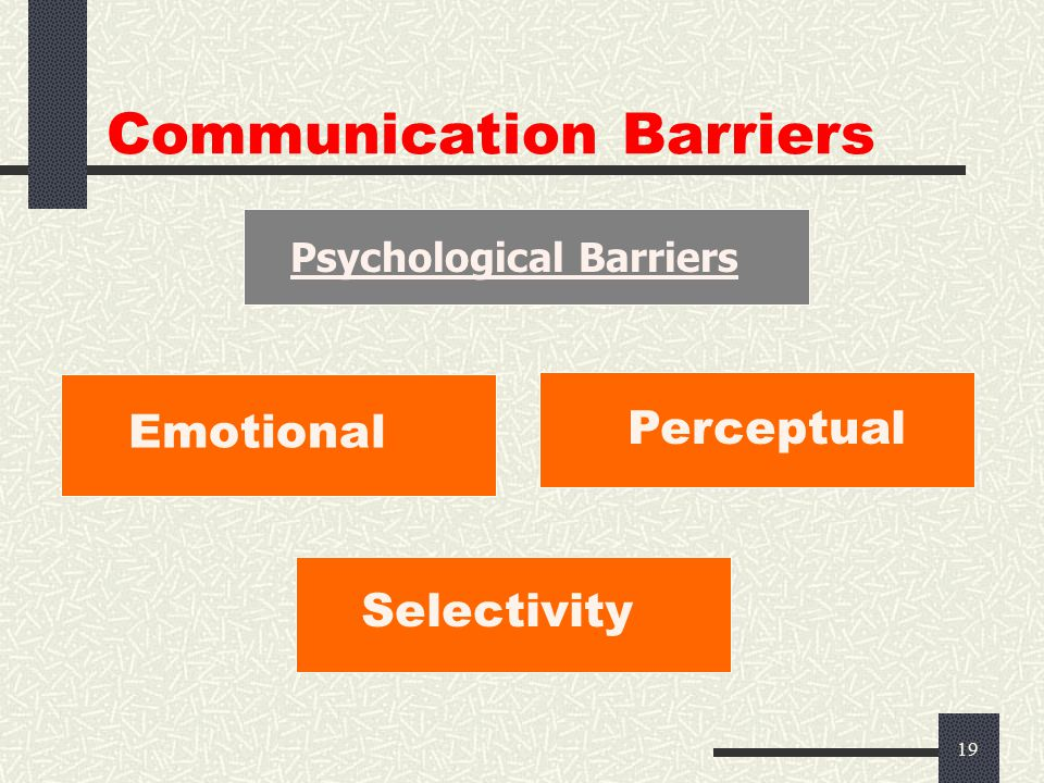 18 Communication Barriers  The human communication system can be compared with radio.