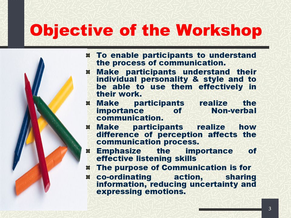 3 Objective of the Workshop To enable participants to understand the process of communication.