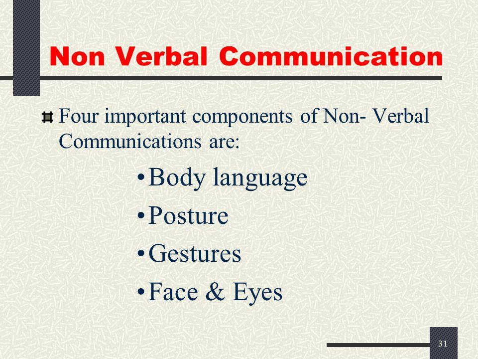 30 Non Verbal Communication 93% Non Verbal 7% Verbal