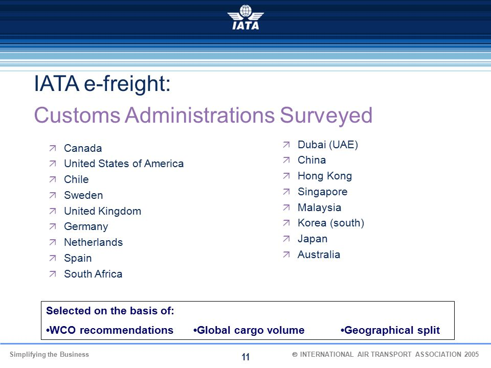 Simplifying the Business  INTERNATIONAL AIR TRANSPORT ASSOCIATION 2005 11  Canada  United States of America  Chile  Sweden  United Kingdom  G