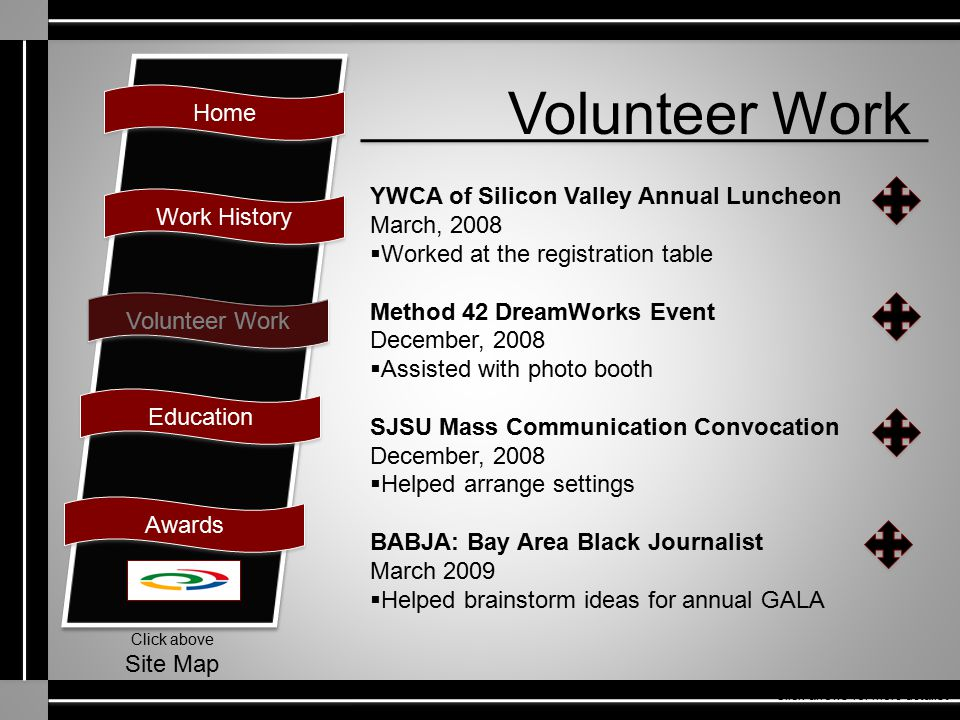 Home Work History Volunteer Work Education Awards Click above Site Map Volunteer Work YWCA of Silicon Valley Annual Luncheon March, 2008  Worked at t