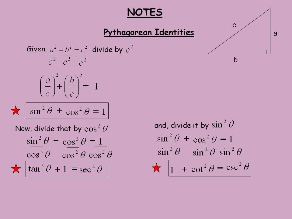 NOTES Given Pythagorean Identities divide by a c b Now, divide that by and, divide it by