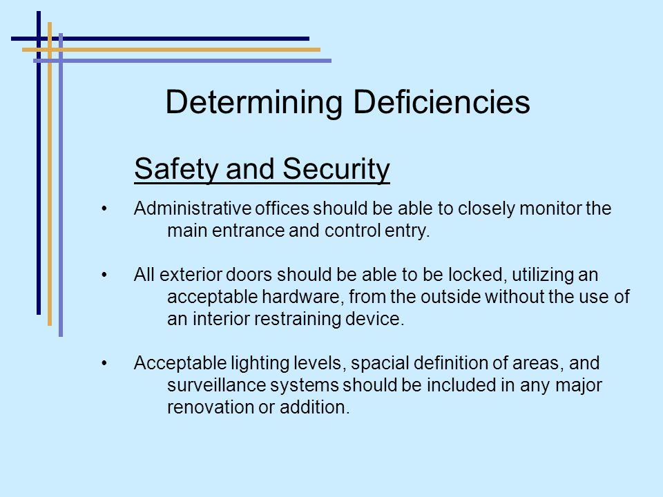 Safety and Security Administrative offices should be able to closely monitor the main entrance and control entry.