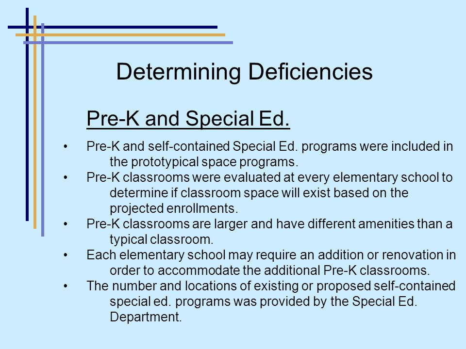 Pre-K and Special Ed. Pre-K and self-contained Special Ed.