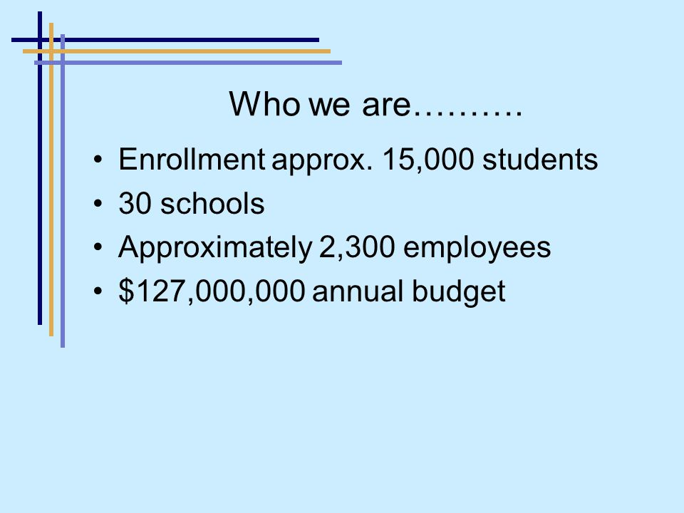 Who we are………. Enrollment approx.