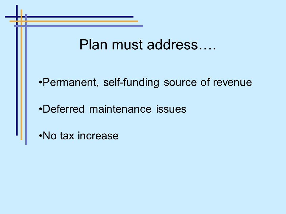 Permanent, self-funding source of revenue Deferred maintenance issues No tax increase Plan must address….