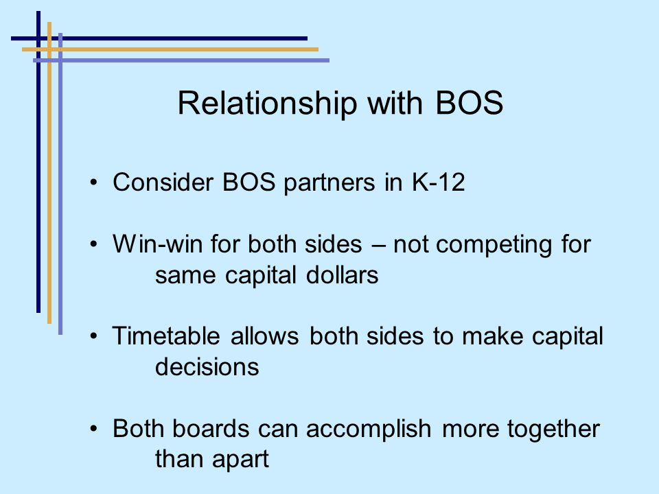 Consider BOS partners in K-12 Win-win for both sides – not competing for same capital dollars Timetable allows both sides to make capital decisions Both boards can accomplish more together than apart Relationship with BOS