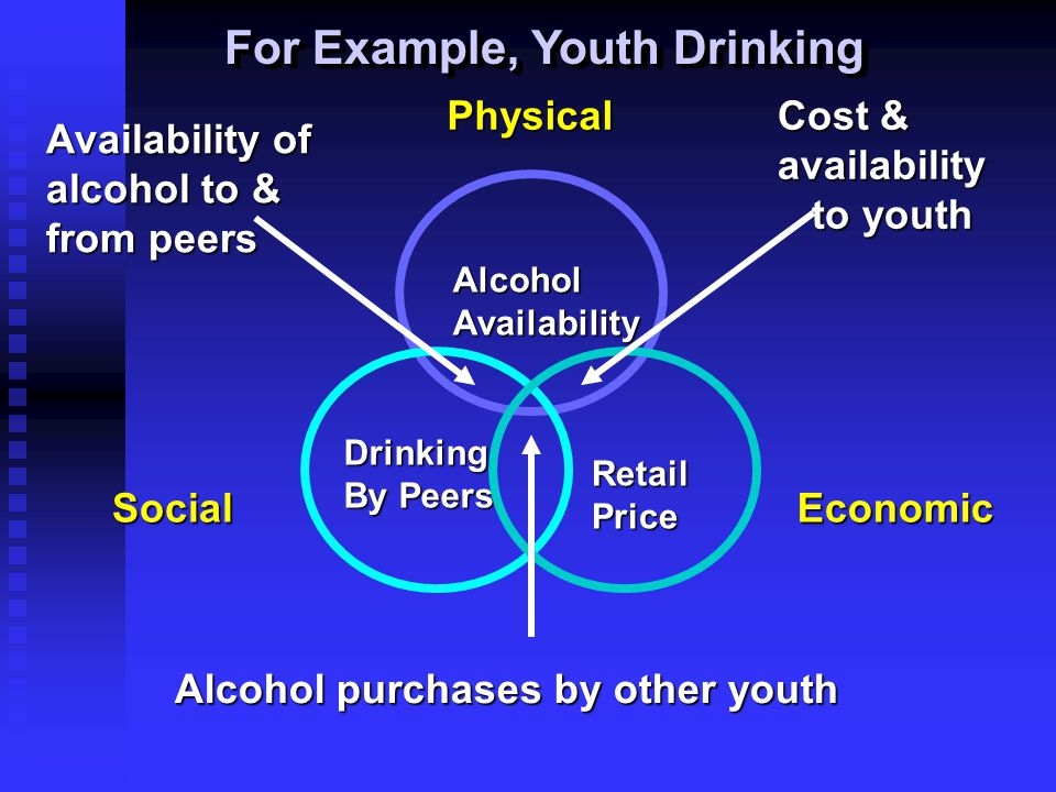For Example, Youth Drinking AlcoholAvailability Drinking By Peers RetailPrice Alcohol purchases by other youth EconomicSocial Cost & availability to y
