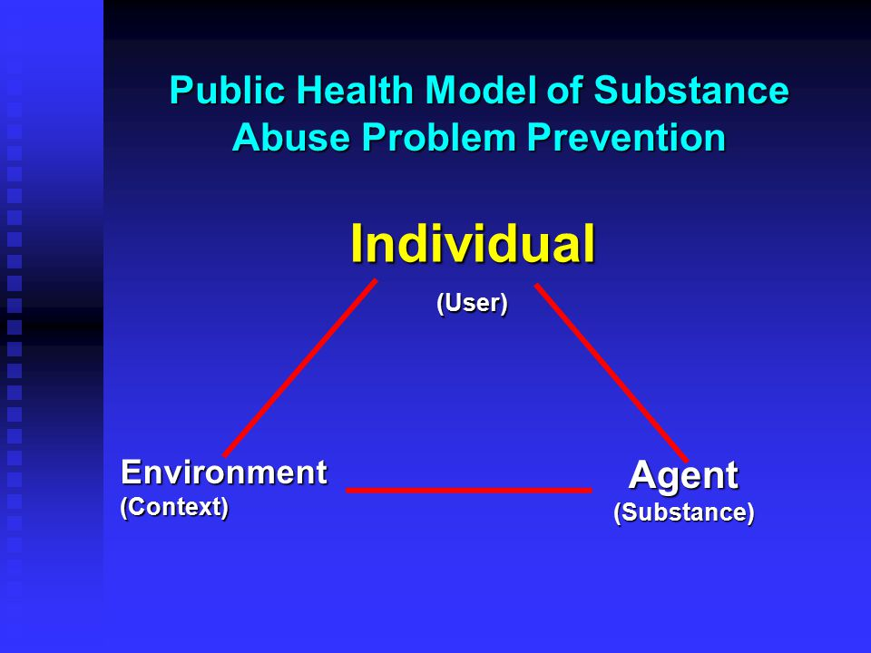 Public Health Model of Substance Abuse Problem Prevention Individual(User) Environment (Context) Agent (Substance)