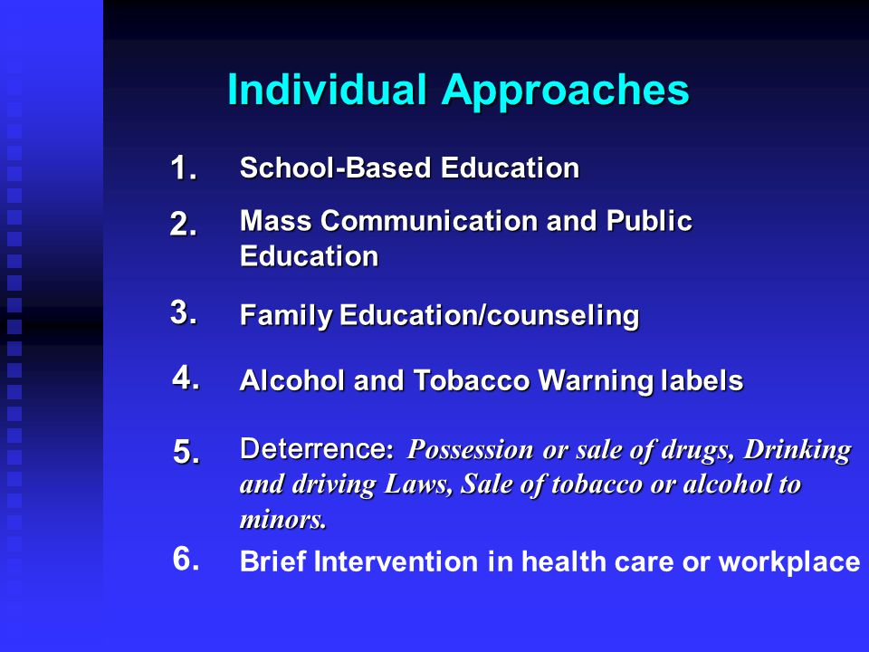 Individual Approaches 3. 4. 1. 2. School-Based Education Mass Communication and Public Education Family Education/counseling Alcohol and Tobacco Warni