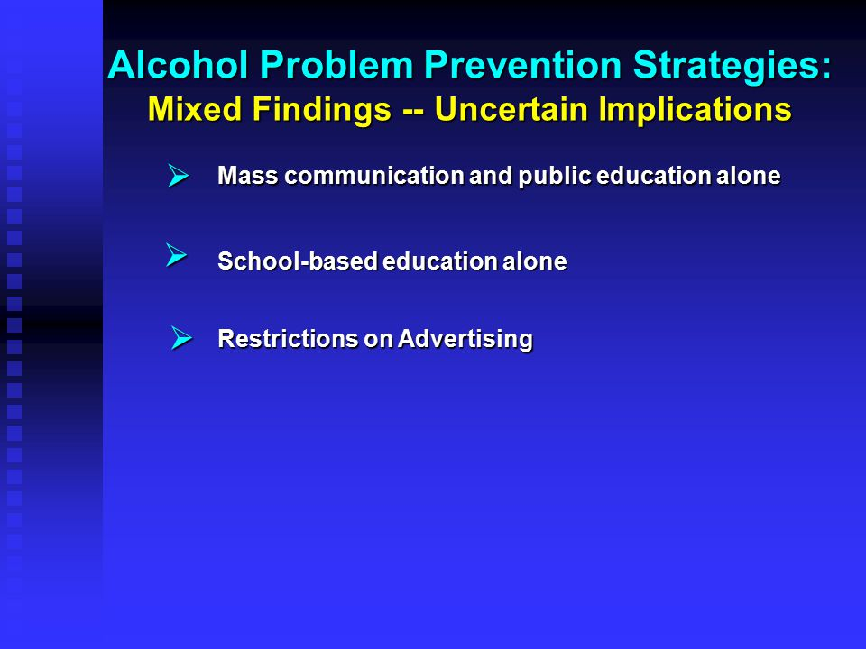 Alcohol Problem Prevention Strategies: Mixed Findings -- Uncertain Implications   Mass communication and public education alone School-based educati
