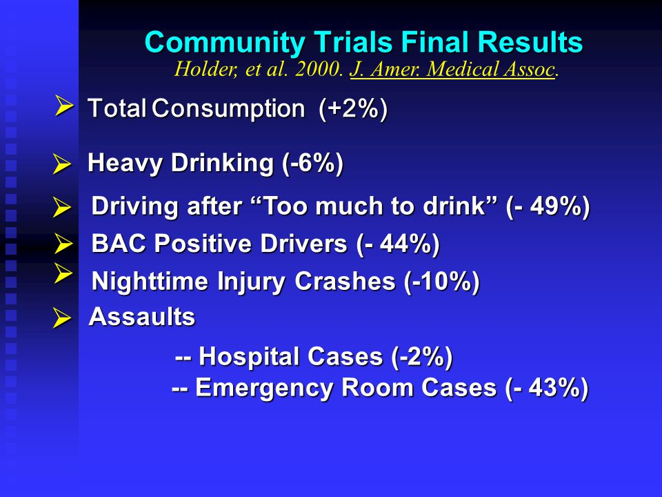 "Community Trials Final Results Driving after ""Too much to drink"" (- 49%) BAC Positive Drivers (- 44%) Heavy Drinking (-6%)    Assaults Nighttime In"