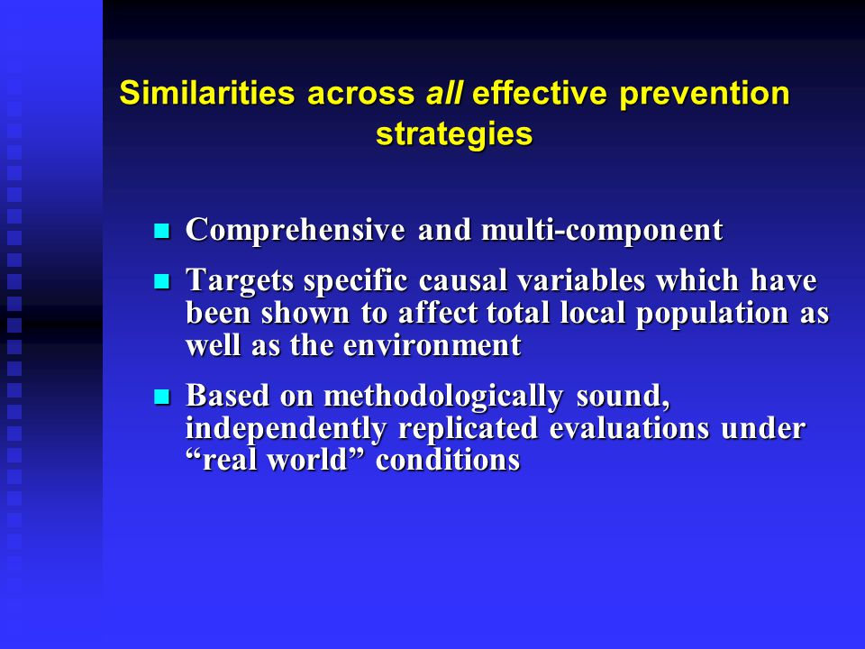 Similarities across all effective prevention strategies Comprehensive and multi-component Comprehensive and multi-component Targets specific causal va