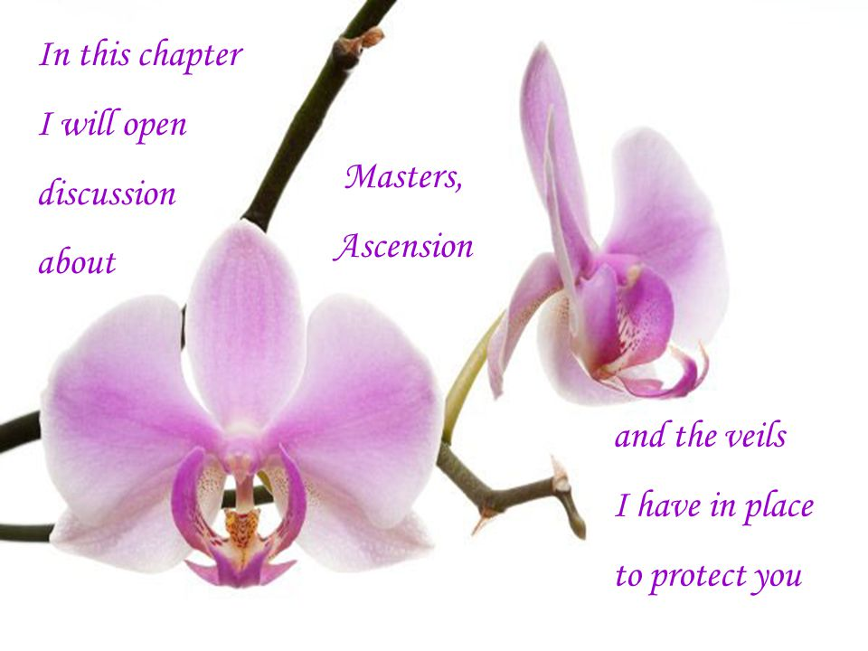 In this chapter I will open discussion about Masters, Ascension and the veils I have in place to protect you
