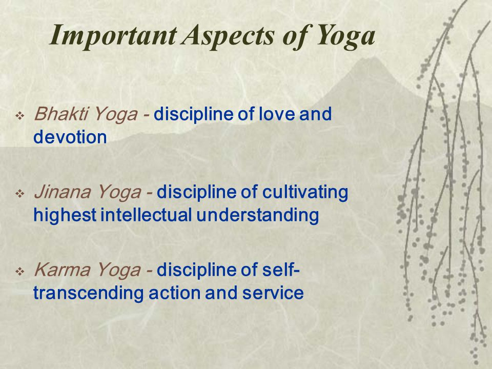 Important Aspects of Yoga  Bhakti Yoga - discipline of love and devotion  Jinana Yoga - discipline of cultivating highest intellectual understanding  Karma Yoga - discipline of self- transcending action and service