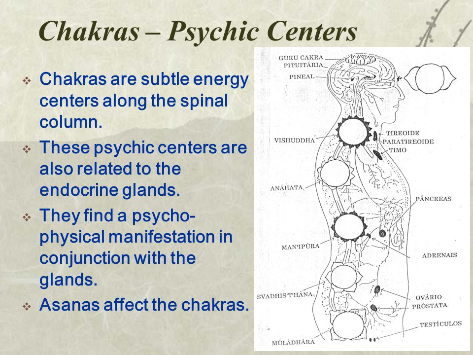 Chakras – Psychic Centers  Chakras are subtle energy centers along the spinal column.
