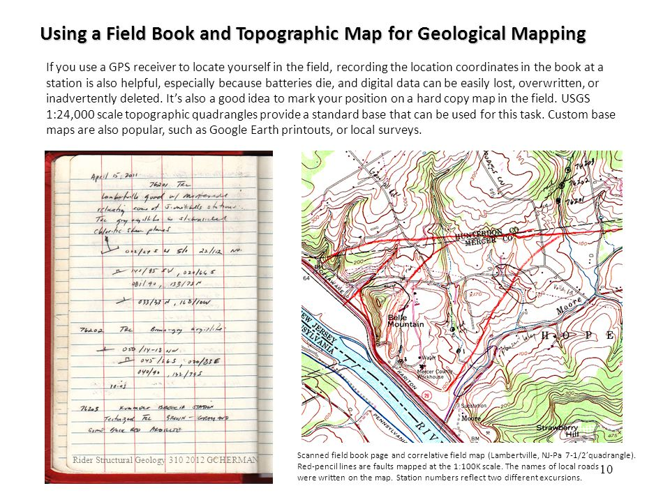 10 If you use a GPS receiver to locate yourself in the field, recording the location coordinates in the book at a station is also helpful, especially