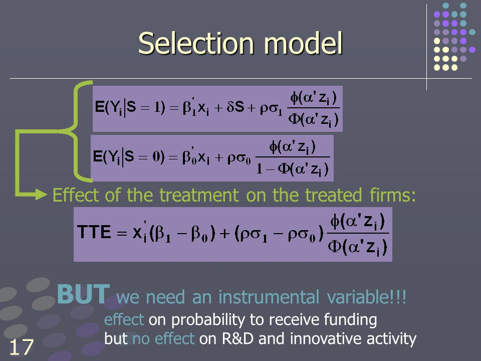 17 Selection model Effect of the treatment on the treated firms: BUT we need an instrumental variable!!.