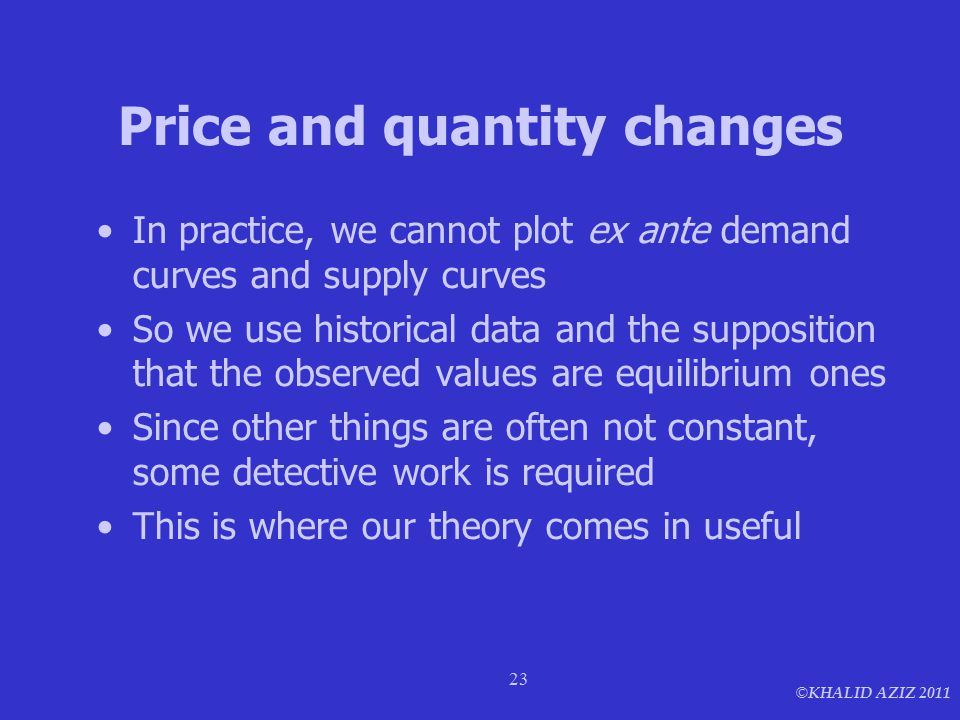 © KHALID AZIZ 2011 23 Price and quantity changes In practice, we cannot plot ex ante demand curves and supply curves So we use historical data and the supposition that the observed values are equilibrium ones Since other things are often not constant, some detective work is required This is where our theory comes in useful