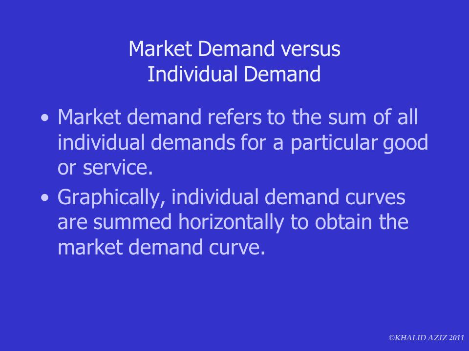 © KHALID AZIZ 2011 Market Demand versus Individual Demand Market demand refers to the sum of all individual demands for a particular good or service.