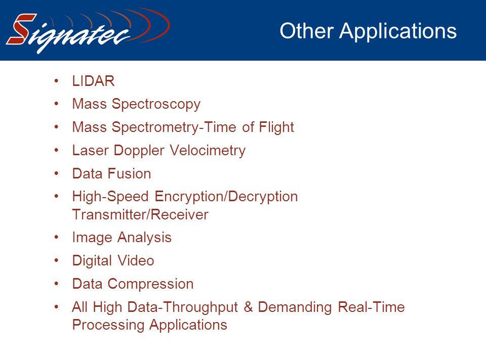 Other Applications LIDAR Mass Spectroscopy Mass Spectrometry-Time of Flight Laser Doppler Velocimetry Data Fusion High-Speed Encryption/Decryption Tra