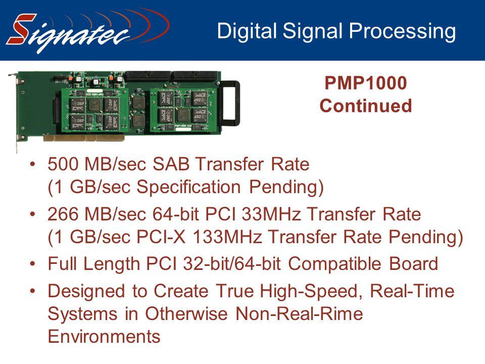 Digital Signal Processing PMP1000 Continued 500 MB/sec SAB Transfer Rate (1 GB/sec Specification Pending) 266 MB/sec 64-bit PCI 33MHz Transfer Rate (1