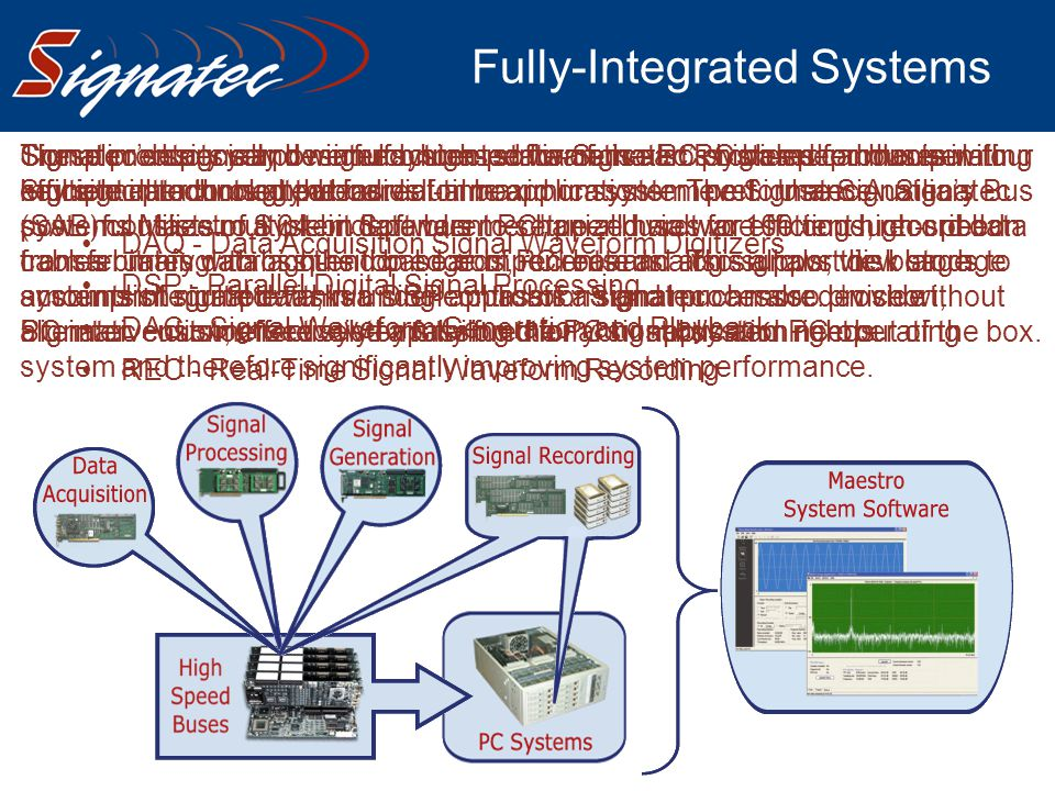 Fully-Integrated Systems Signatec designs and manufactures state-of-the-art PC based products in four key signal technology areas: DAQ - Data Acquisit