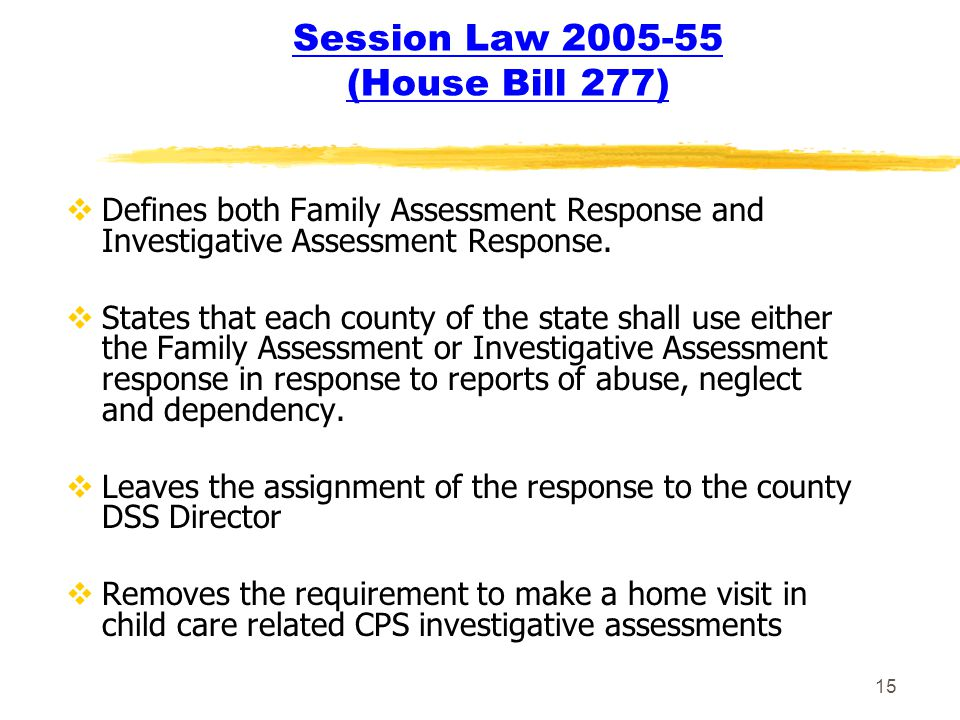 15 Session Law 2005-55 (House Bill 277)  Defines both Family Assessment Response and Investigative Assessment Response.  States that each county of