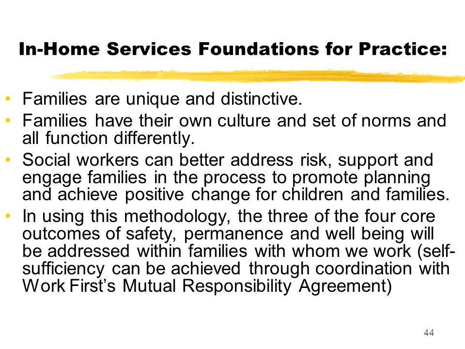 44 In-Home Services Foundations for Practice: Families are unique and distinctive. Families have their own culture and set of norms and all function d
