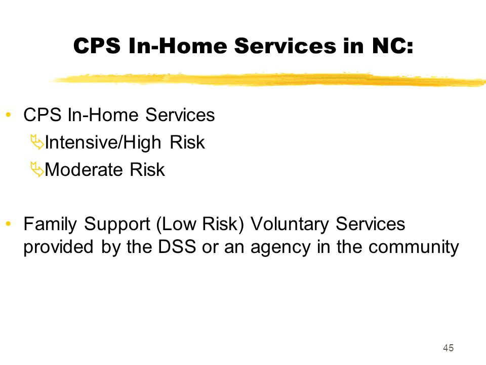 45 CPS In-Home Services in NC: CPS In-Home Services  Intensive/High Risk  Moderate Risk Family Support (Low Risk) Voluntary Services provided by the