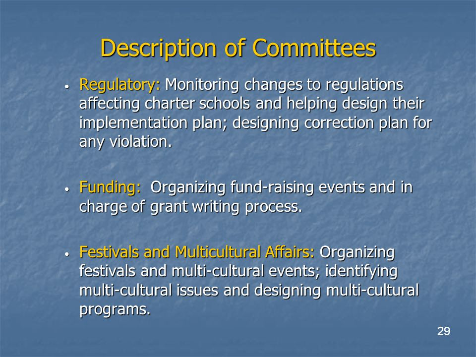 Description of Committees Regulatory: Monitoring changes to regulations affecting charter schools and helping design their implementation plan; designing correction plan for any violation.