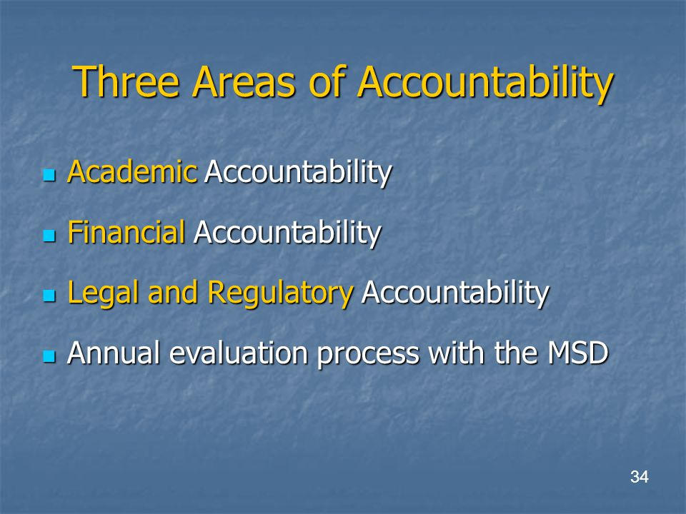 Three Areas of Accountability Academic Accountability Academic Accountability Financial Accountability Financial Accountability Legal and Regulatory Accountability Legal and Regulatory Accountability Annual evaluation process with the MSD Annual evaluation process with the MSD 34