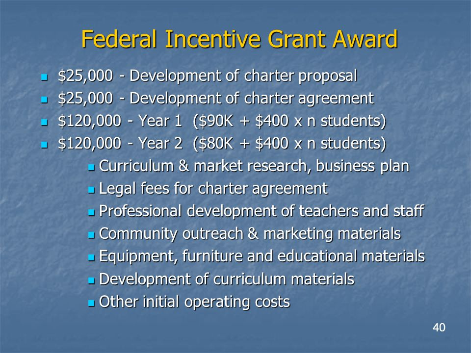 Federal Incentive Grant Award $25,000 - Development of charter proposal $25,000 - Development of charter proposal $25,000 - Development of charter agreement $25,000 - Development of charter agreement $120,000 - Year 1 ($90K + $400 x n students) $120,000 - Year 1 ($90K + $400 x n students) $120,000 - Year 2 ($80K + $400 x n students) $120,000 - Year 2 ($80K + $400 x n students) Curriculum & market research, business plan Curriculum & market research, business plan Legal fees for charter agreement Legal fees for charter agreement Professional development of teachers and staff Professional development of teachers and staff Community outreach & marketing materials Community outreach & marketing materials Equipment, furniture and educational materials Equipment, furniture and educational materials Development of curriculum materials Development of curriculum materials Other initial operating costs Other initial operating costs 40