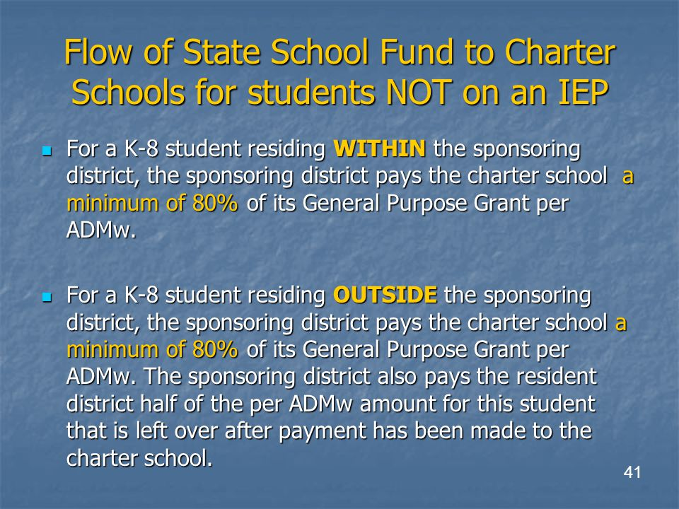 Flow of State School Fund to Charter Schools for students NOT on an IEP For a K-8 student residing WITHIN the sponsoring district, the sponsoring district pays the charter school a minimum of 80% of its General Purpose Grant per ADMw.