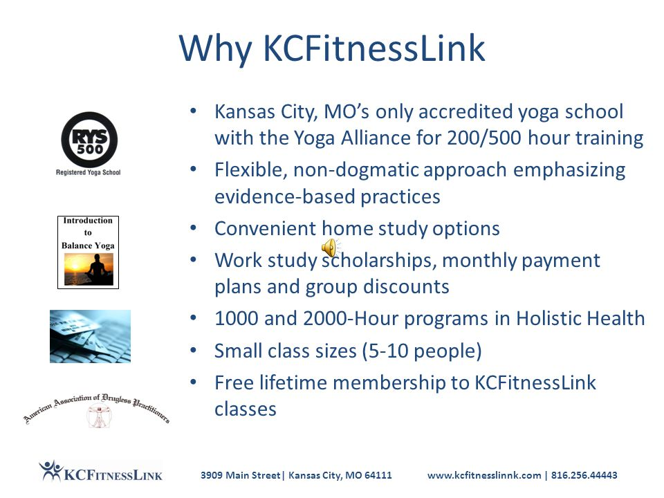 3909 Main Street| Kansas City, MO 64111www.kcfitnesslinnk.com | 816.256.44443 Build Your Holistic Health Career Start a new career Build on your current health, fitness or therapy training Be your own boss part-time or full-time