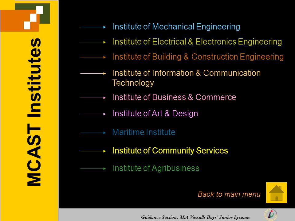 Guidance Section: M.A.Vassalli Boys' Junior Lyceum MCAST Institutes Institute of Mechanical Engineering Institute of Electrical & Electronics Engineering Institute of Building & Construction Engineering Institute of Information & Communication Technology Institute of Business & Commerce Institute of Art & Design Maritime Institute Institute of Community Services Institute of Agribusiness Back to main menu