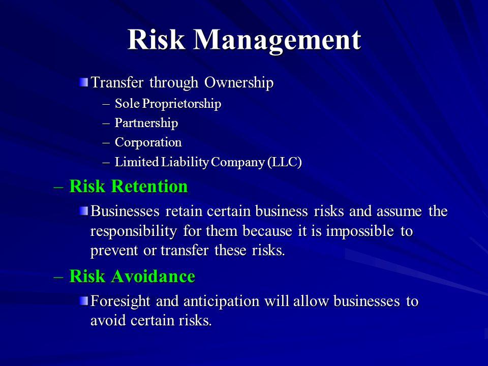 Risk Management Transfer through Ownership –Sole Proprietorship –Partnership –Corporation –Limited Liability Company (LLC) –Risk Retention Businesses