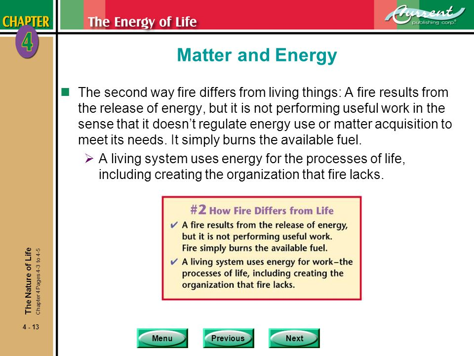 MenuPreviousNext 4 - 13 Matter and Energy nThe second way fire differs from living things: A fire results from the release of energy, but it is not pe