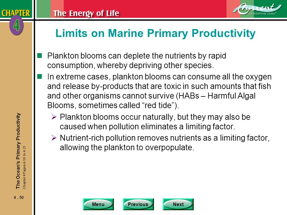 MenuPreviousNext 4 - 50 Limits on Marine Primary Productivity nPlankton blooms can deplete the nutrients by rapid consumption, whereby depriving other species.