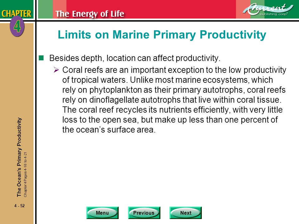 MenuPreviousNext 4 - 52 Limits on Marine Primary Productivity nBesides depth, location can affect productivity.