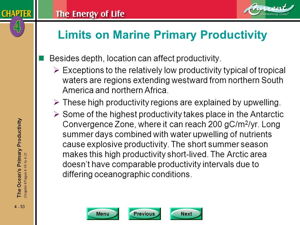 MenuPreviousNext 4 - 53 Limits on Marine Primary Productivity nBesides depth, location can affect productivity.  Exceptions to the relatively low pro