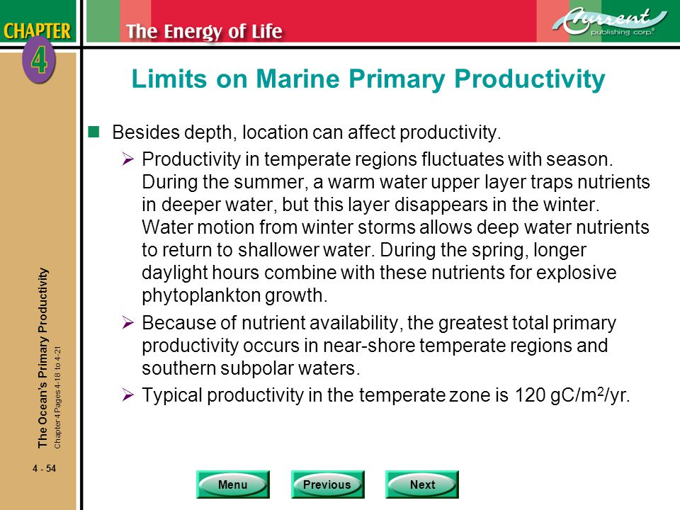 MenuPreviousNext 4 - 54 Limits on Marine Primary Productivity nBesides depth, location can affect productivity.