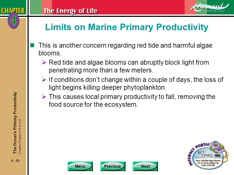 MenuPreviousNext 4 - 60 Limits on Marine Primary Productivity nThis is another concern regarding red tide and harmful algae blooms.  Red tide and alg