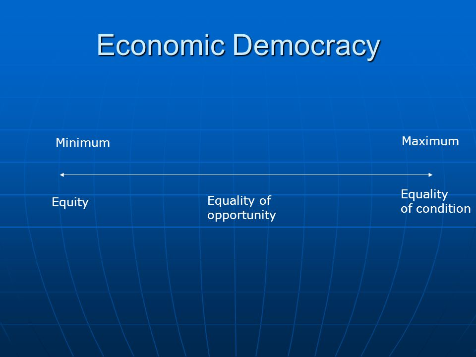 Economic Democracy Equity Equality of condition Equality of opportunity Minimum Maximum