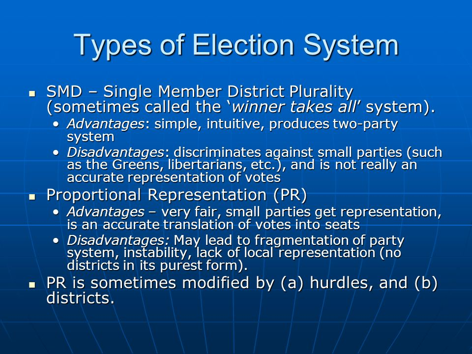 Types of Election System SMD – Single Member District Plurality (sometimes called the 'winner takes all' system). SMD – Single Member District Plurali