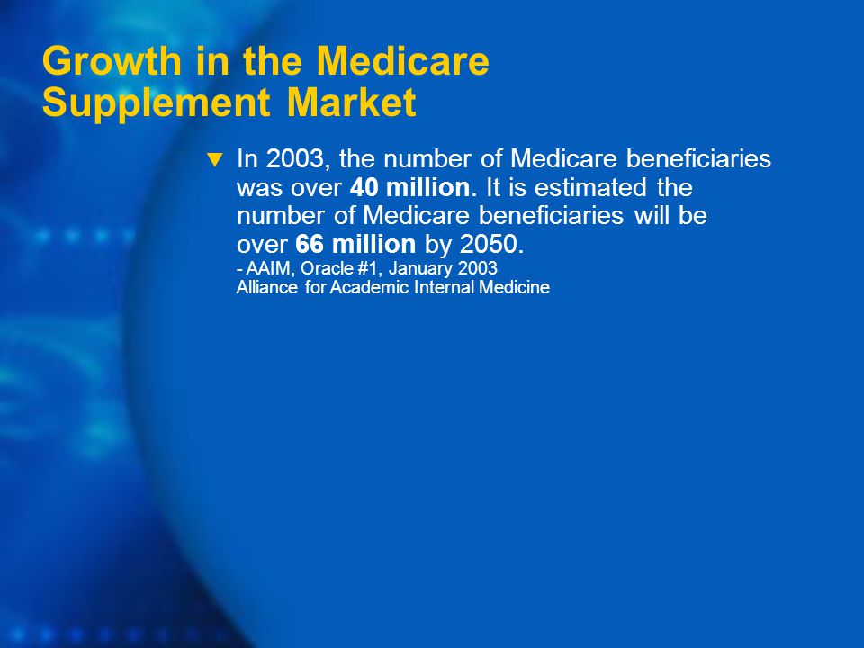Growth in the Medicare Supplement Market  In 2003, the number of Medicare beneficiaries was over 40 million.